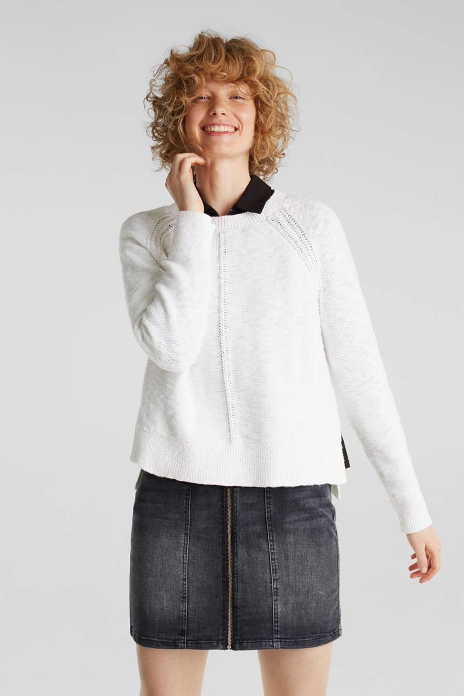 Jumper with contrasting trims, 100% cotton