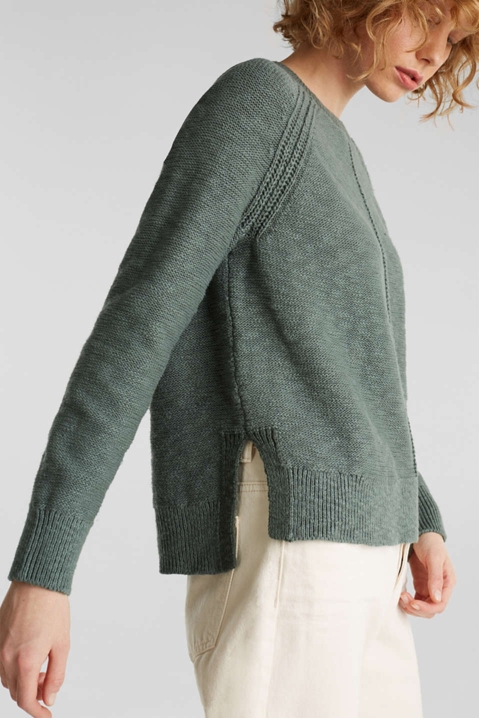 Sweaters, KHAKI GREEN, detail image number 2