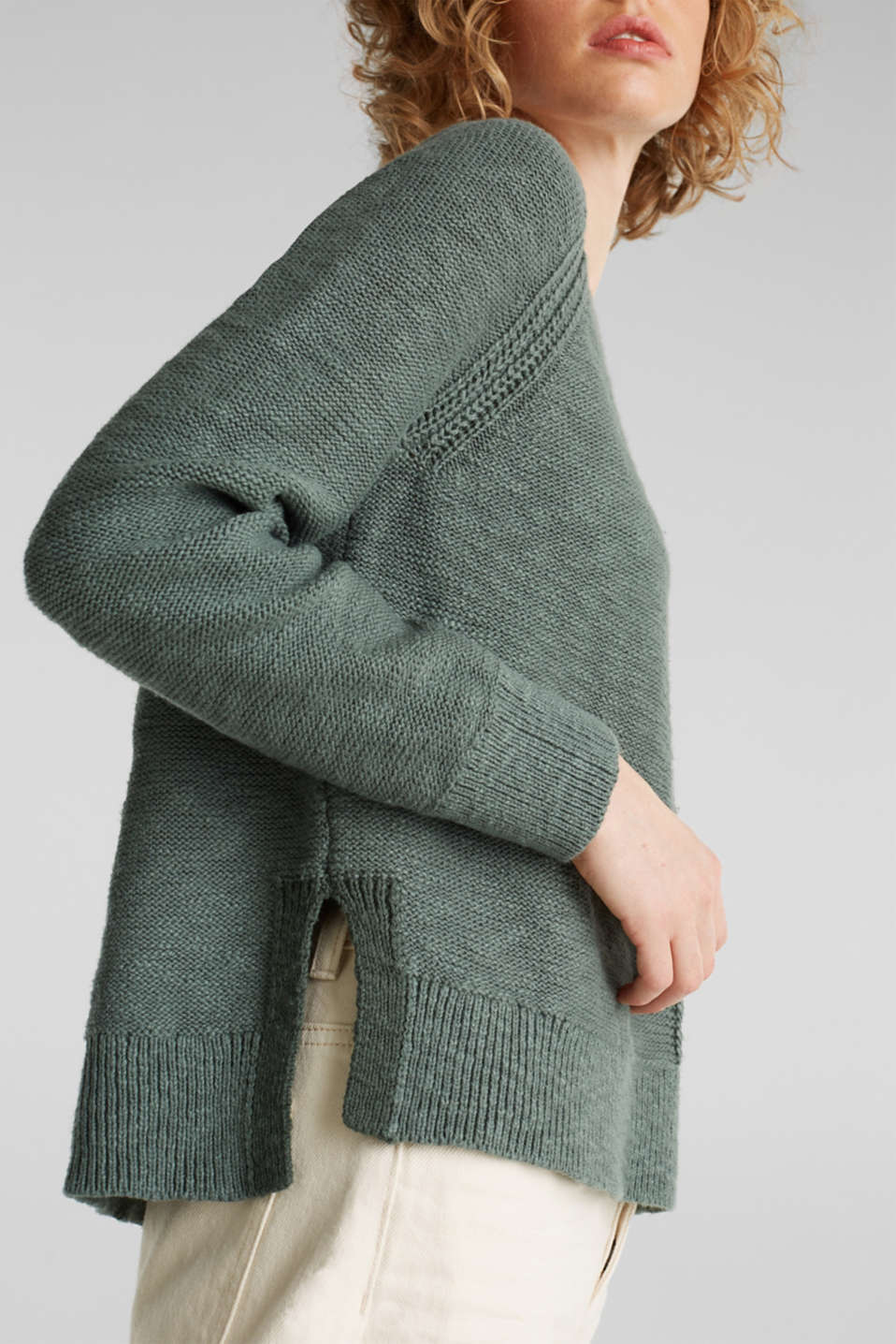 Sweaters, KHAKI GREEN, detail image number 5