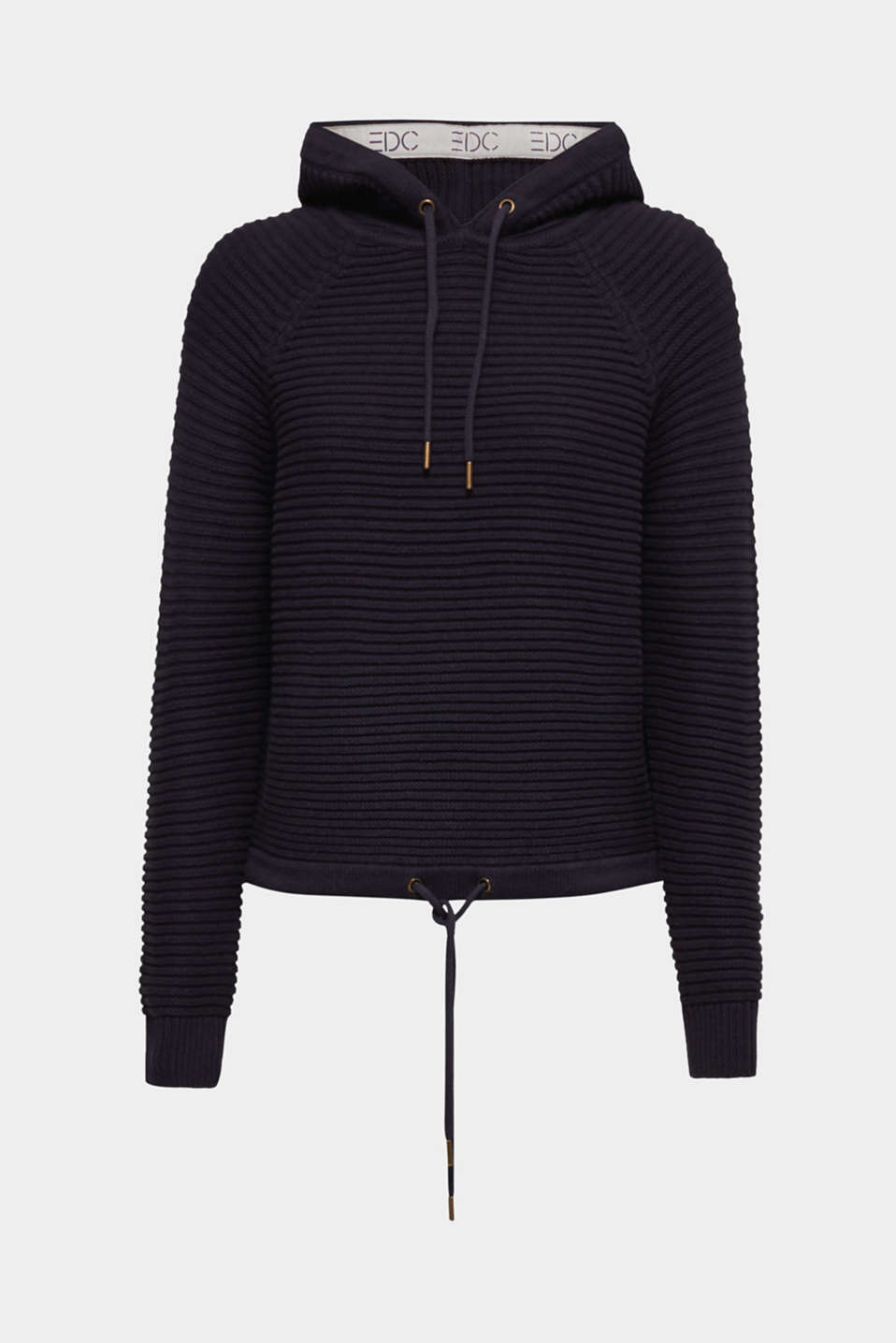 Hoodie made of compact ribbed yarn, NAVY, detail image number 5