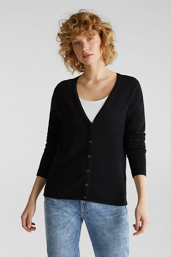 Cardigan aus Baumwoll-Mix, BLACK, detail image number 0