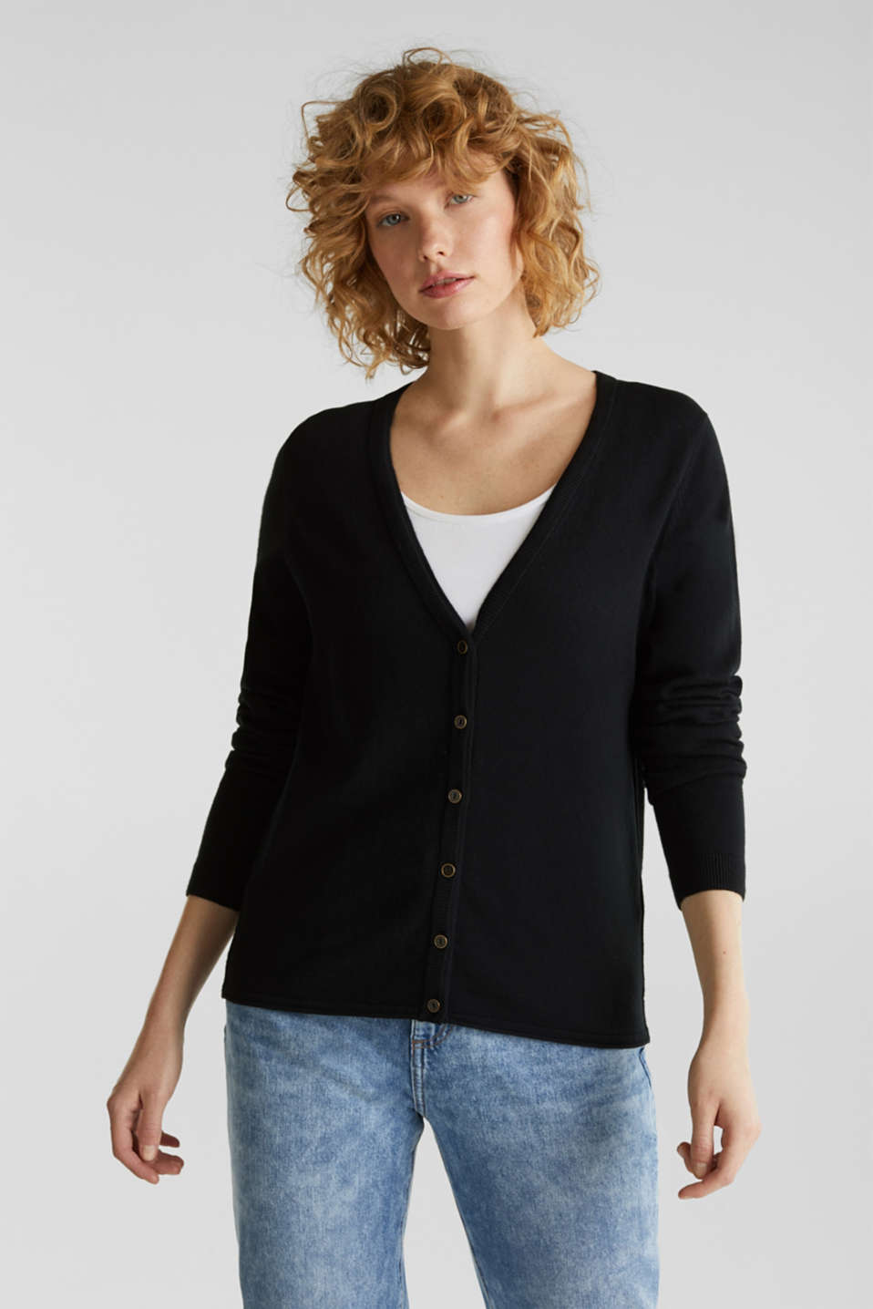 Cotton blend cardigan, BLACK, detail image number 0