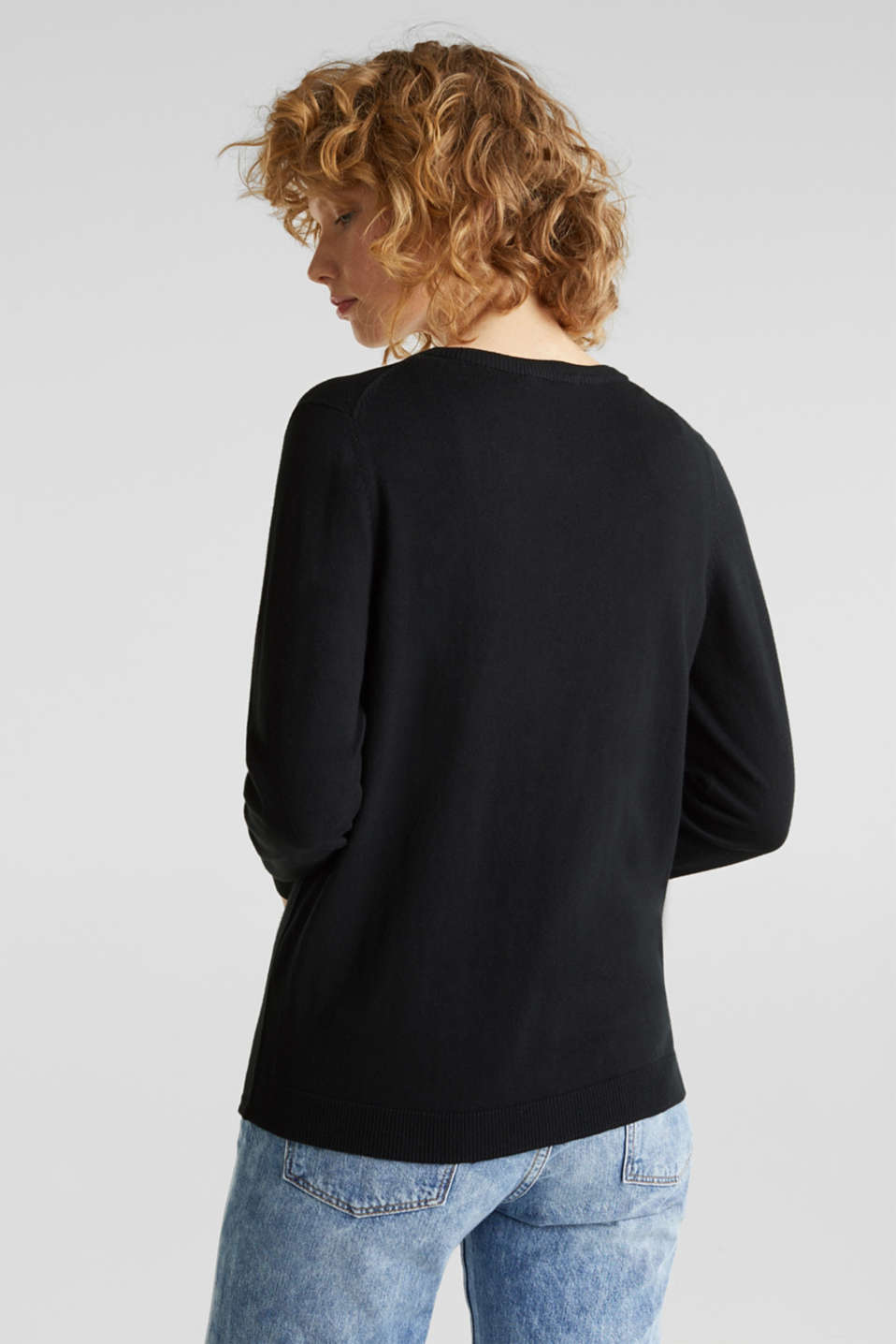 Cotton blend cardigan, BLACK, detail image number 3