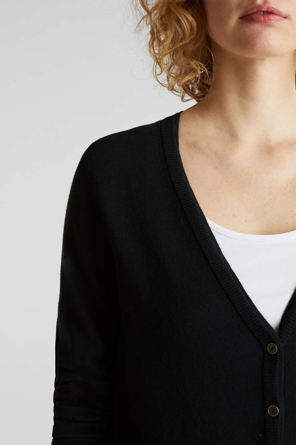 Cotton blend cardigan, BLACK, detail image number 2