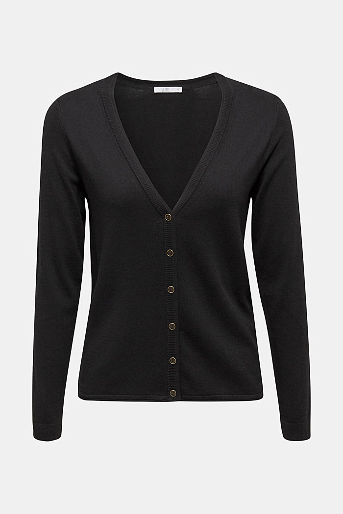 Cardigan aus Baumwoll-Mix, BLACK, overview