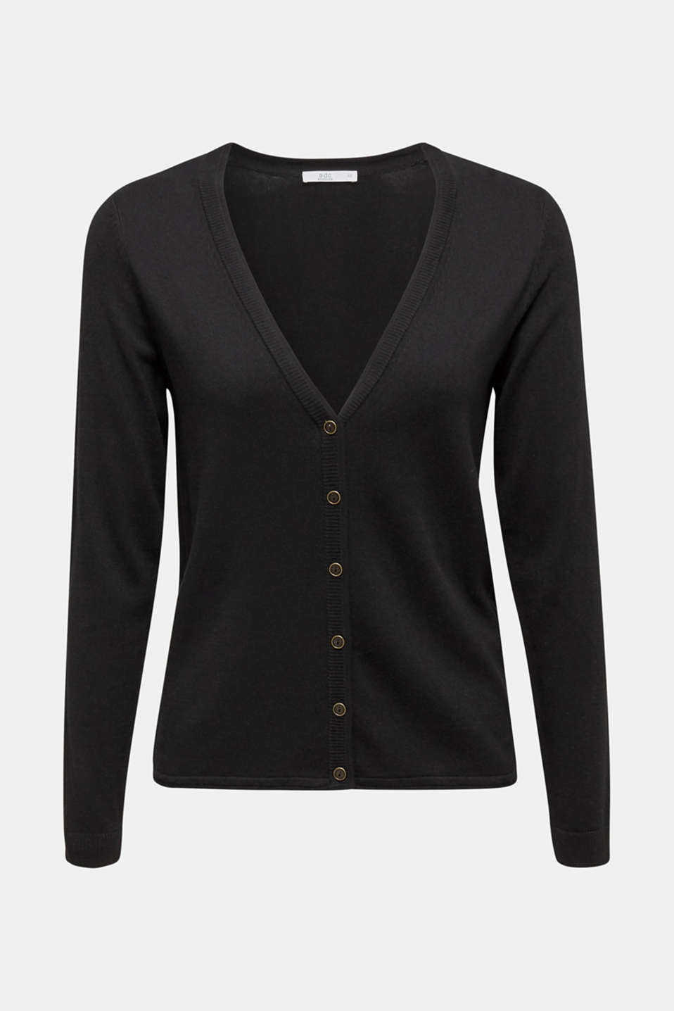 Cotton blend cardigan, BLACK, detail image number 7