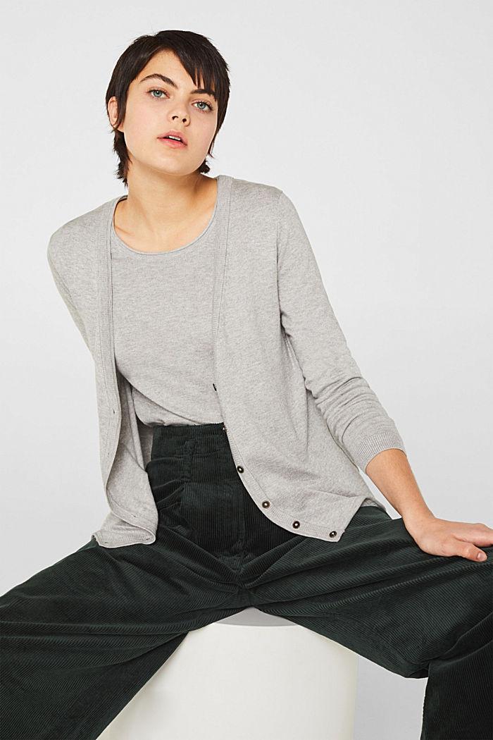 Cotton blend cardigan, LIGHT GREY, detail image number 0
