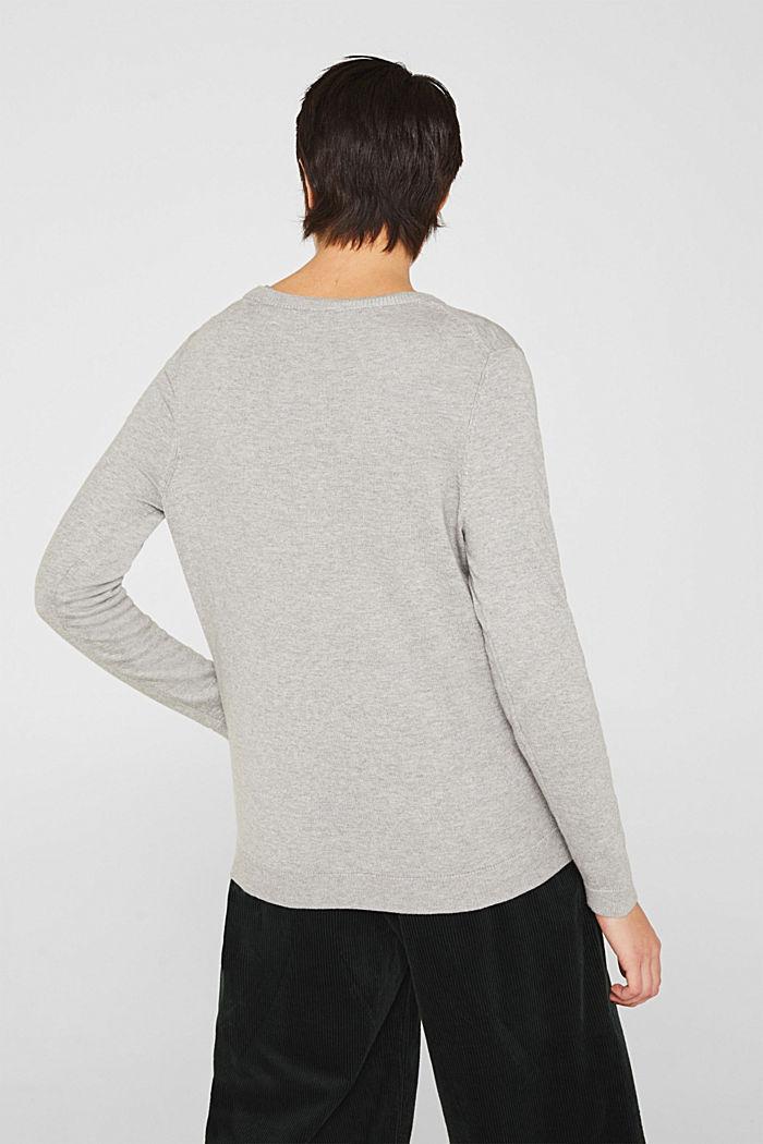 Cotton blend cardigan, LIGHT GREY, detail image number 3