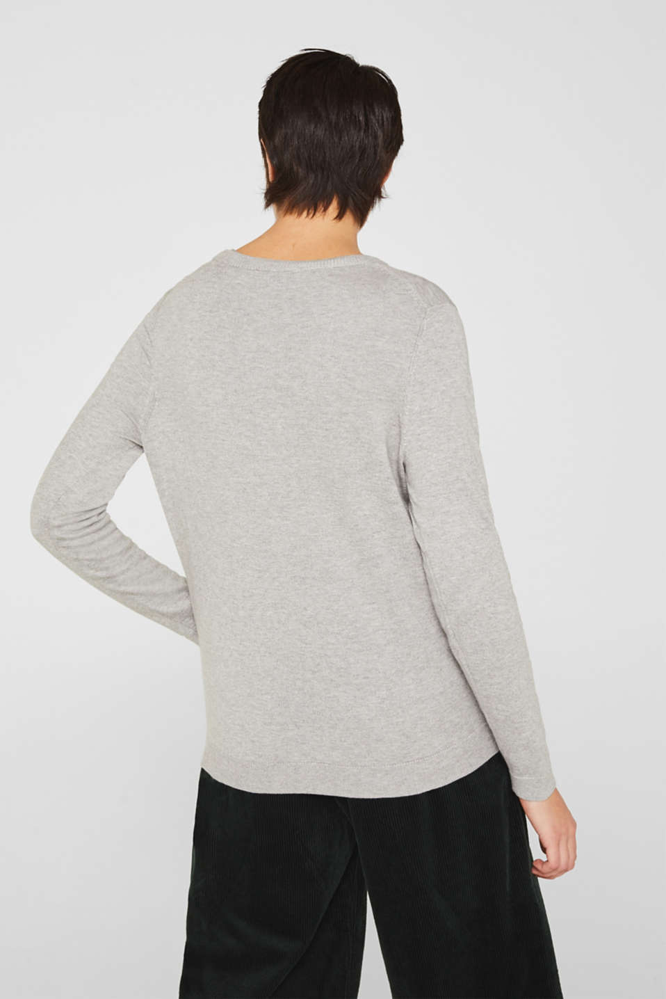 Fine-knit blended cotton cardigan, LIGHT GREY 5, detail image number 3