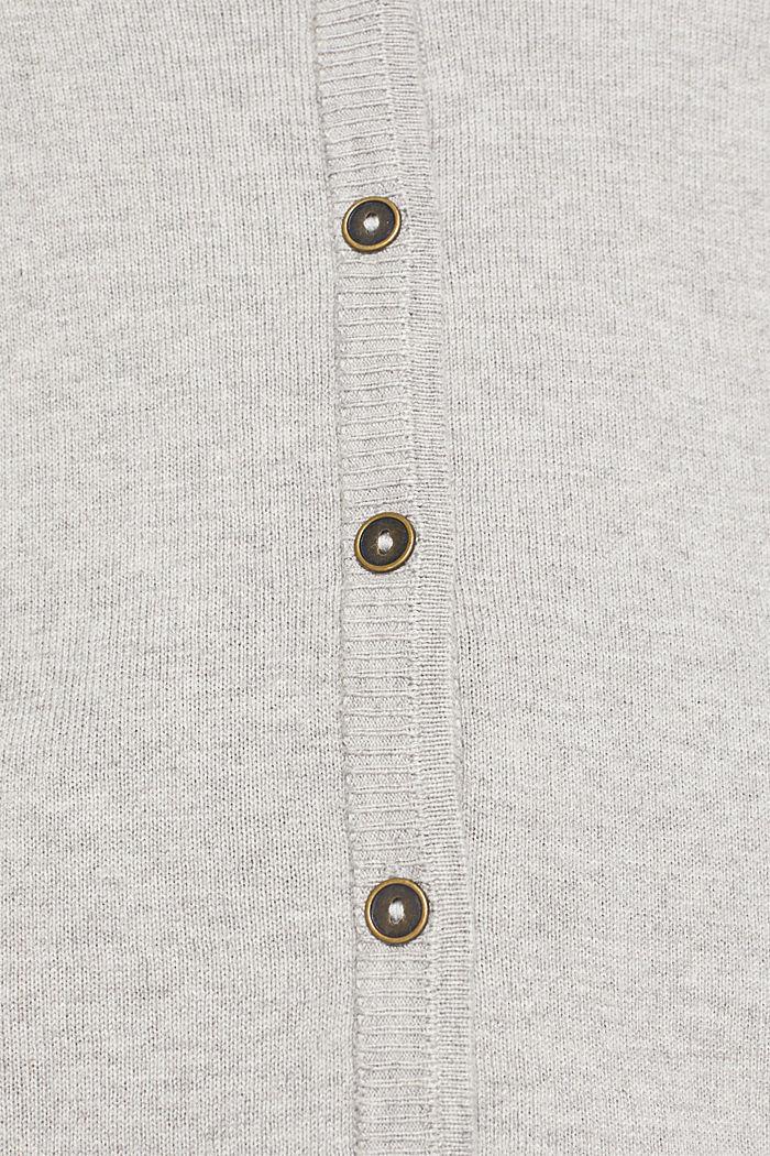 Cotton blend cardigan, LIGHT GREY, detail image number 4
