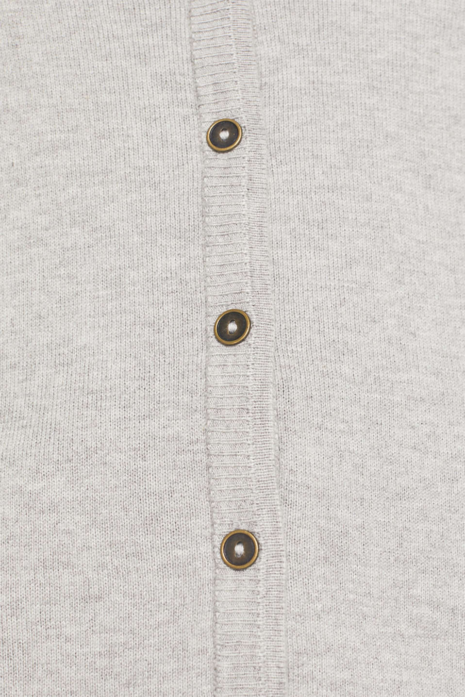 Fine-knit blended cotton cardigan, LIGHT GREY 5, detail image number 4
