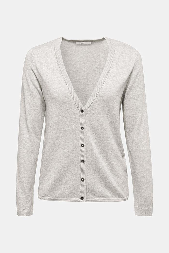 Cotton blend cardigan, LIGHT GREY, detail image number 5
