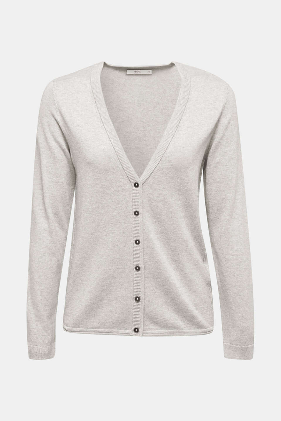 Fine-knit blended cotton cardigan, LIGHT GREY 5, detail image number 5