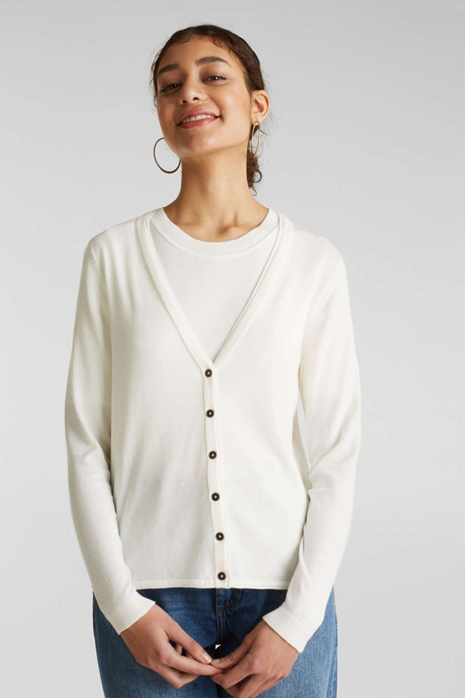 Fine-knit blended cotton cardigan, OFF WHITE, detail image number 0