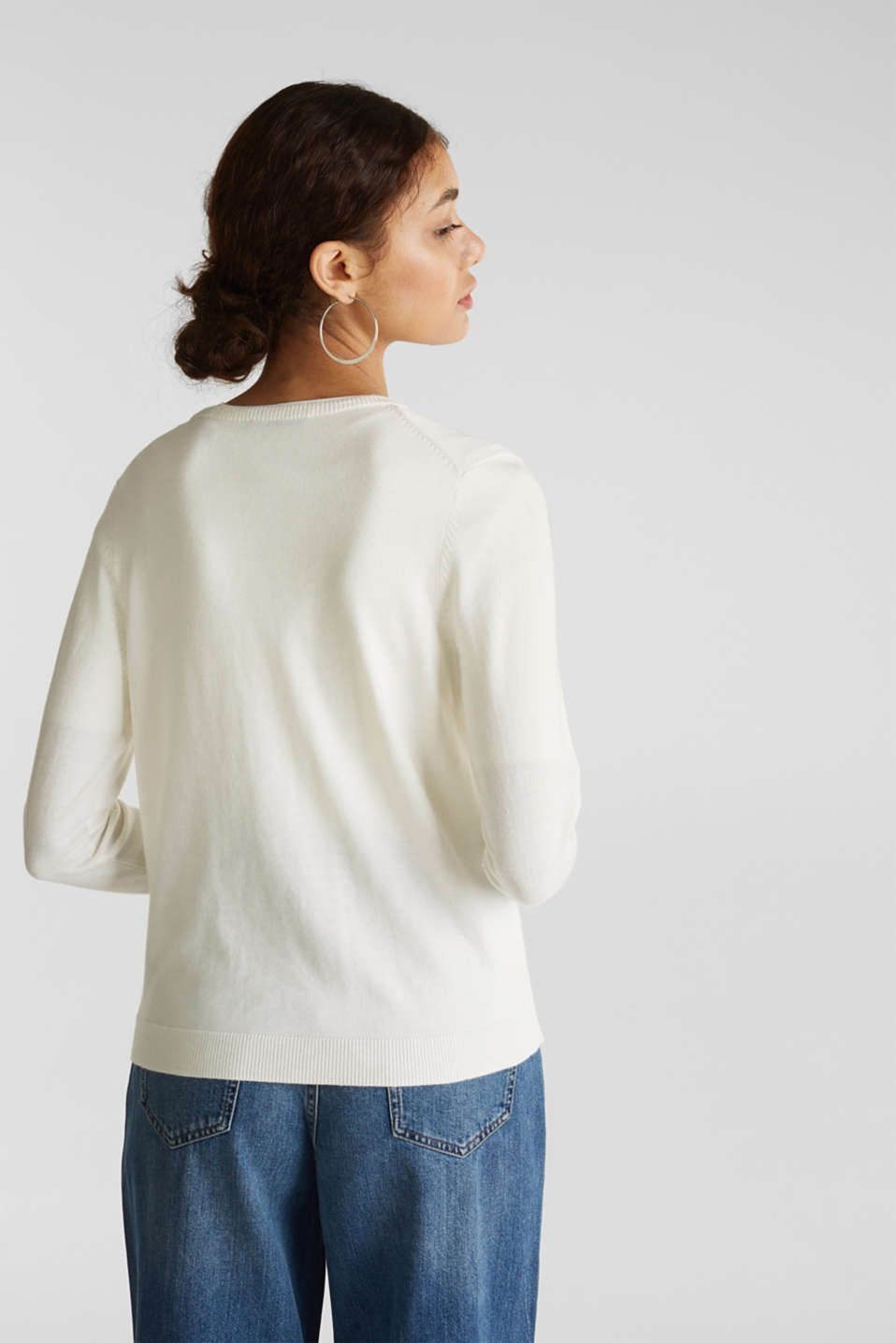 Fine-knit blended cotton cardigan, OFF WHITE, detail image number 3