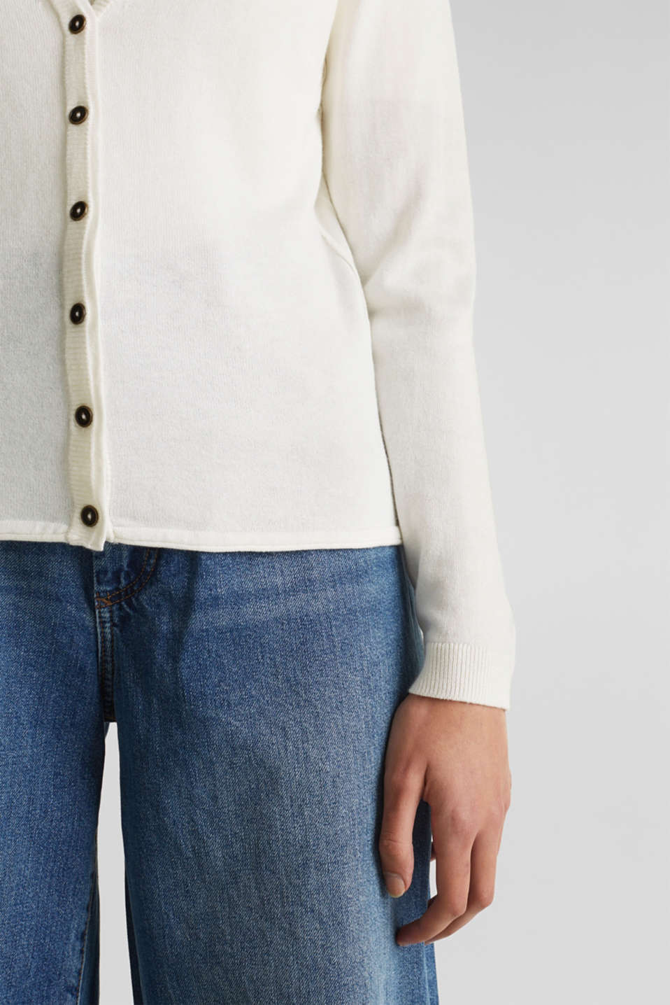 Fine-knit blended cotton cardigan, OFF WHITE, detail image number 2
