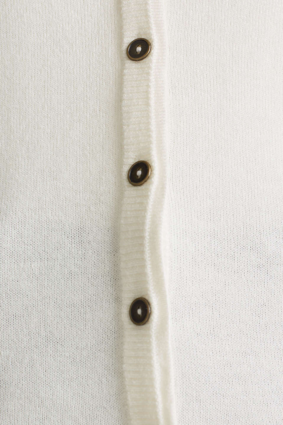 Fine-knit blended cotton cardigan, OFF WHITE, detail image number 4