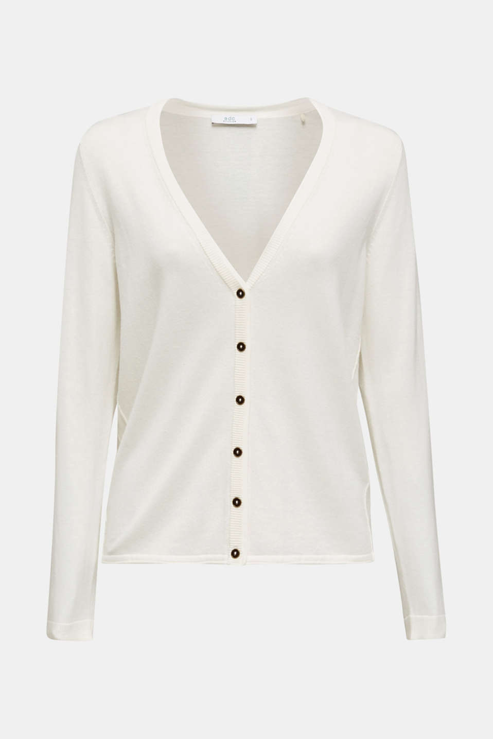 Fine-knit blended cotton cardigan, OFF WHITE, detail image number 6