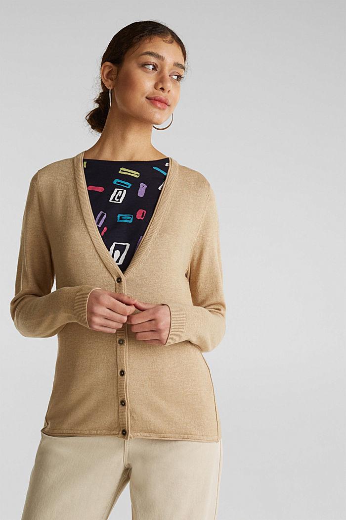 Cotton blend cardigan, LIGHT BEIGE, detail image number 0