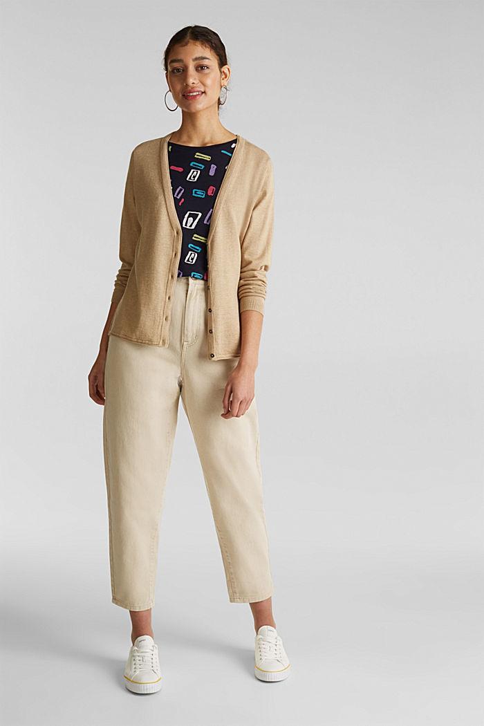 Cotton blend cardigan, LIGHT BEIGE, detail image number 1