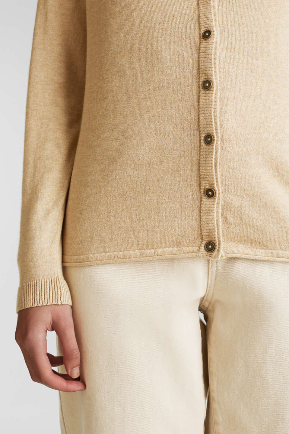 Fine-knit blended cotton cardigan, LIGHT BEIGE 5, detail image number 2