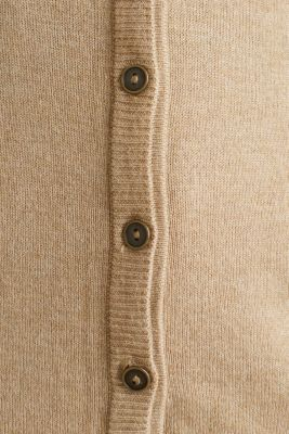 Fine-knit blended cotton cardigan, LIGHT BEIGE 5, detail