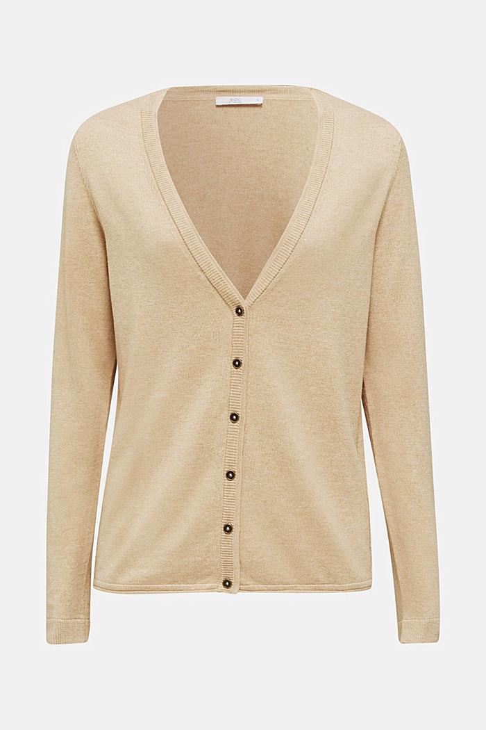 Cotton blend cardigan, LIGHT BEIGE, detail image number 5