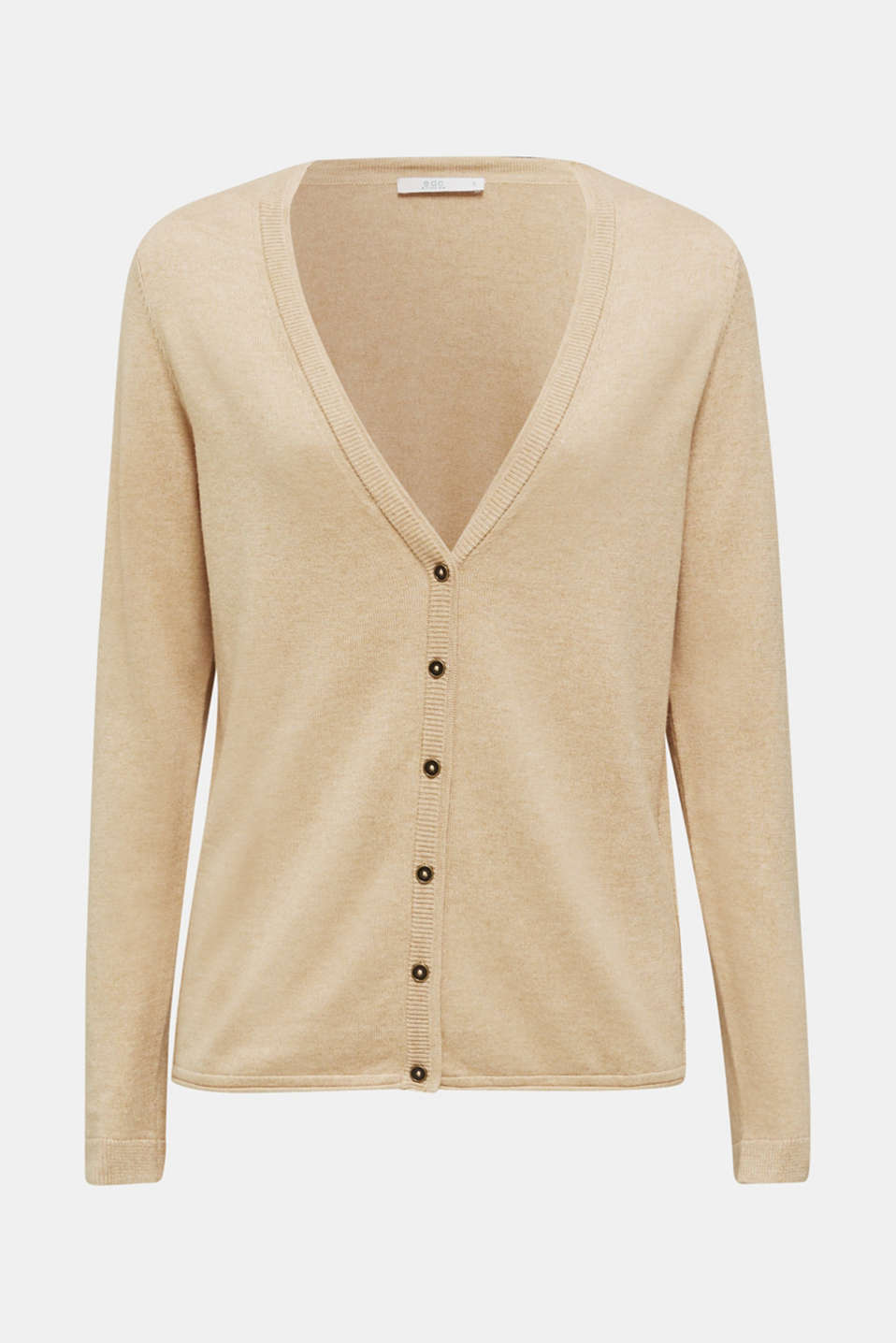Fine-knit blended cotton cardigan, LIGHT BEIGE 5, detail image number 5