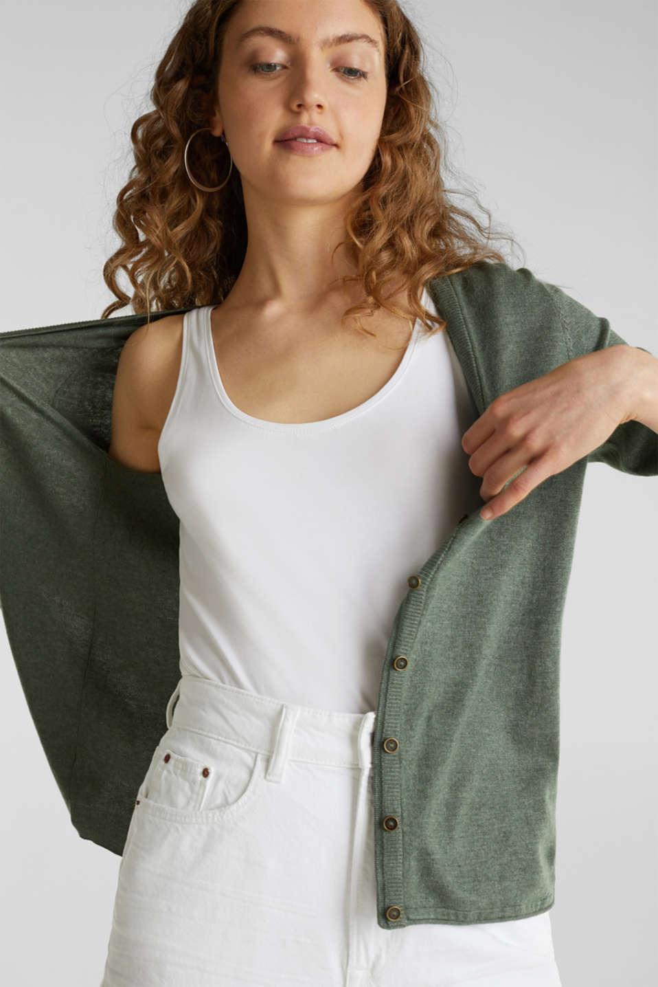 Fine-knit blended cotton cardigan, KHAKI GREEN 5, detail image number 0