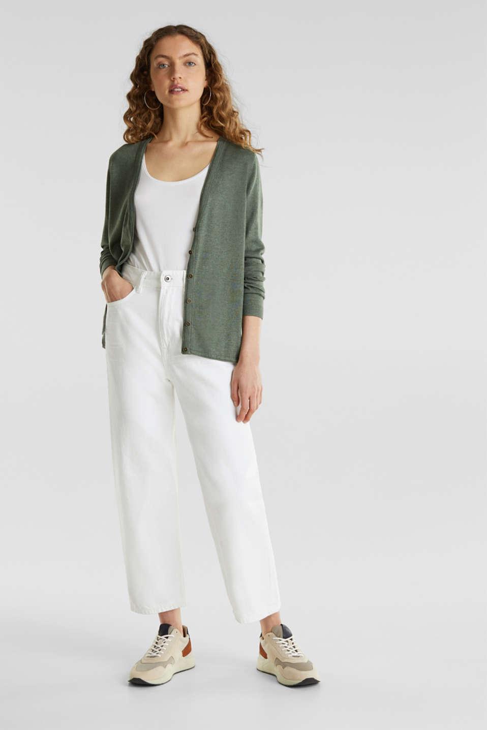 Fine-knit blended cotton cardigan, KHAKI GREEN 5, detail image number 1