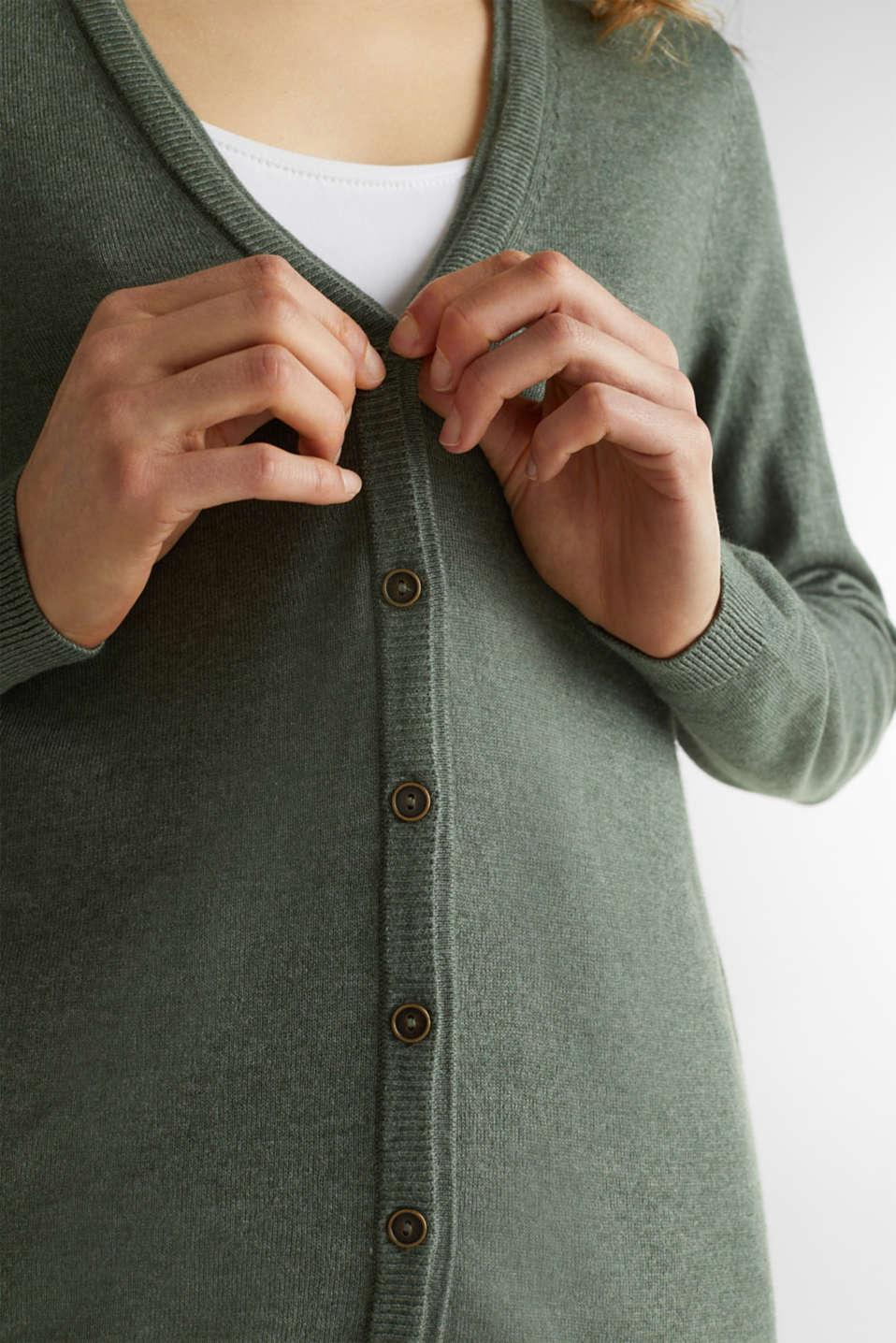 Fine-knit blended cotton cardigan, KHAKI GREEN 5, detail image number 2