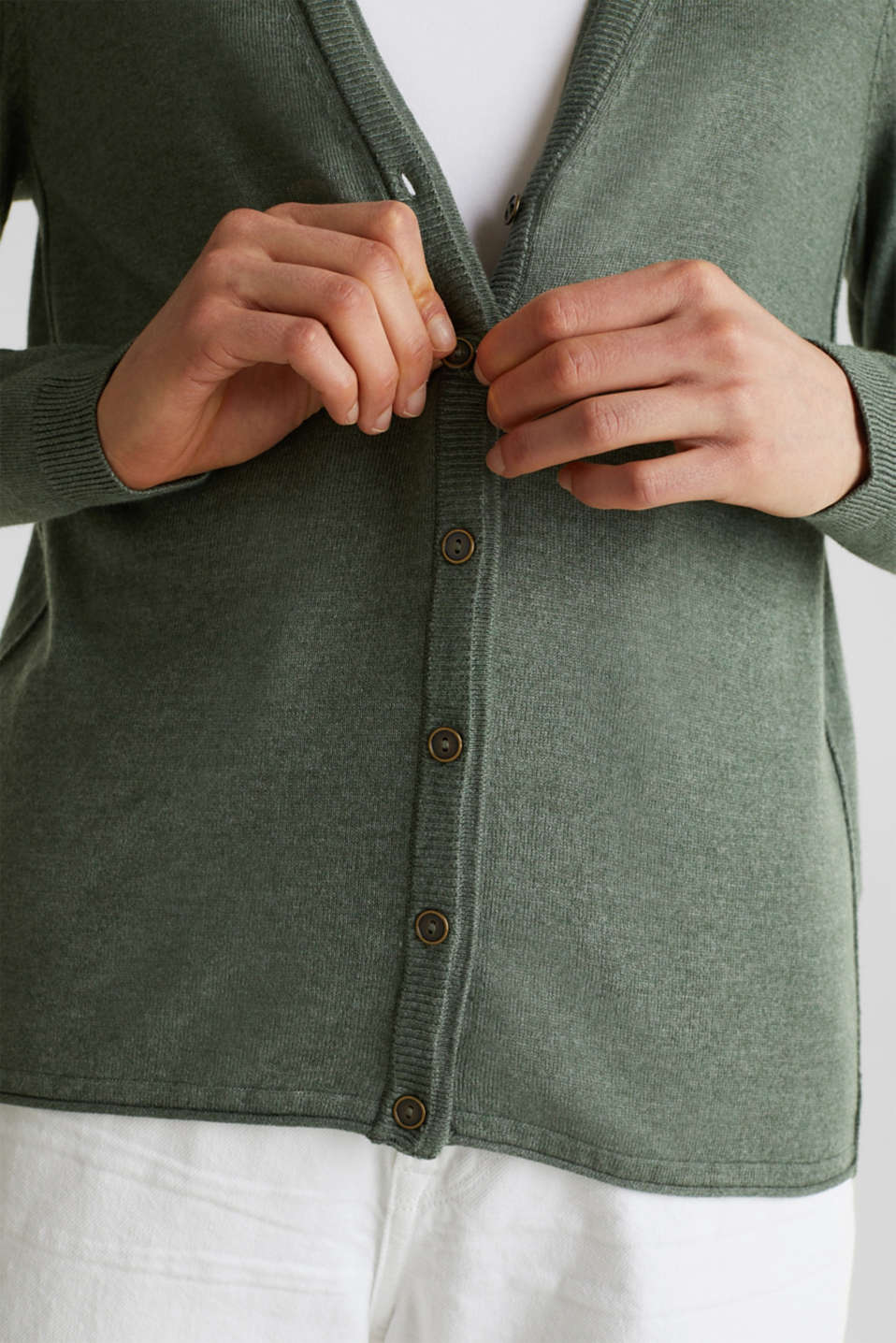 Fine-knit blended cotton cardigan, KHAKI GREEN 5, detail image number 5