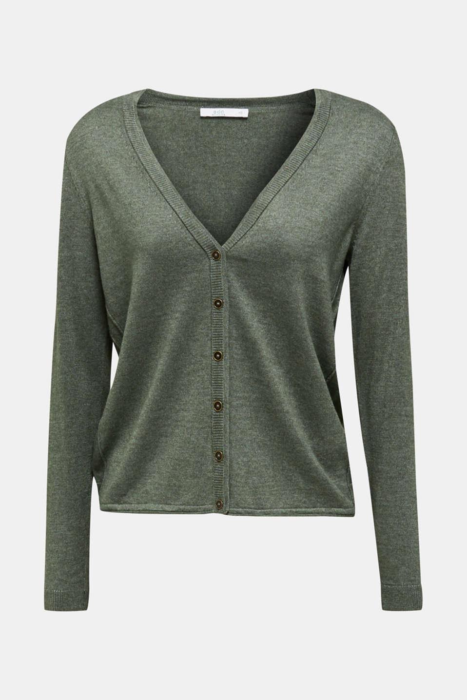 Fine-knit blended cotton cardigan, KHAKI GREEN 5, detail image number 6