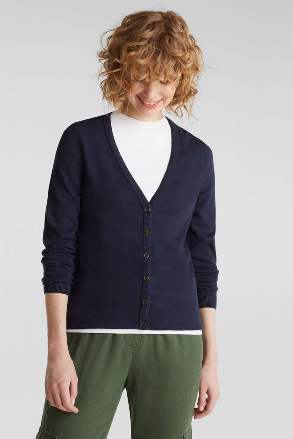 Cotton blend cardigan, NAVY, detail image number 0