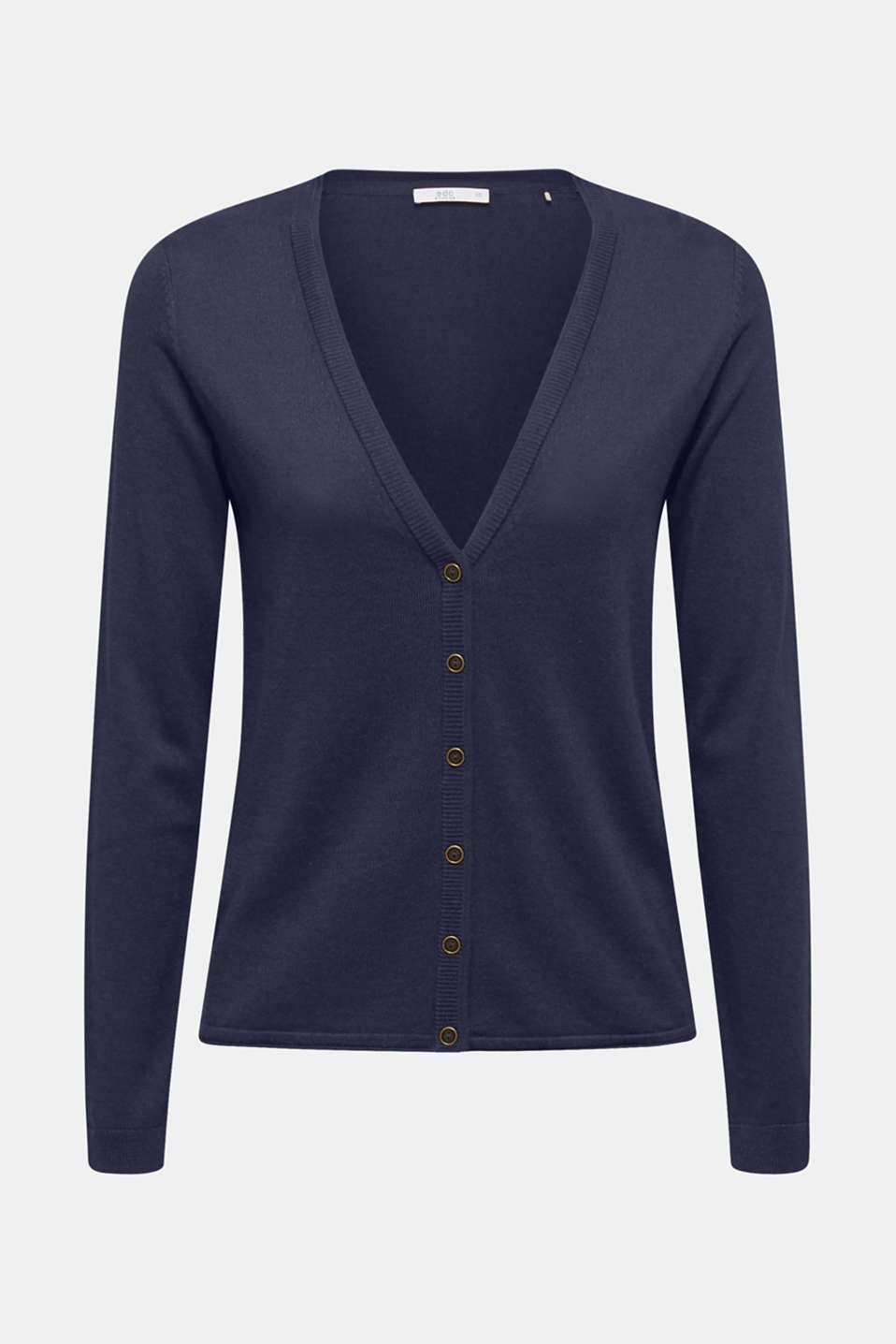 Cotton blend cardigan, NAVY, detail image number 6