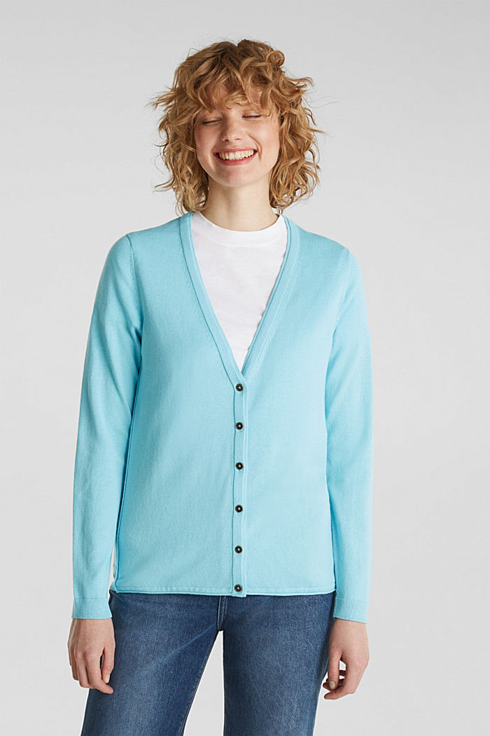 Cotton blend cardigan, TURQUOISE, detail image number 0