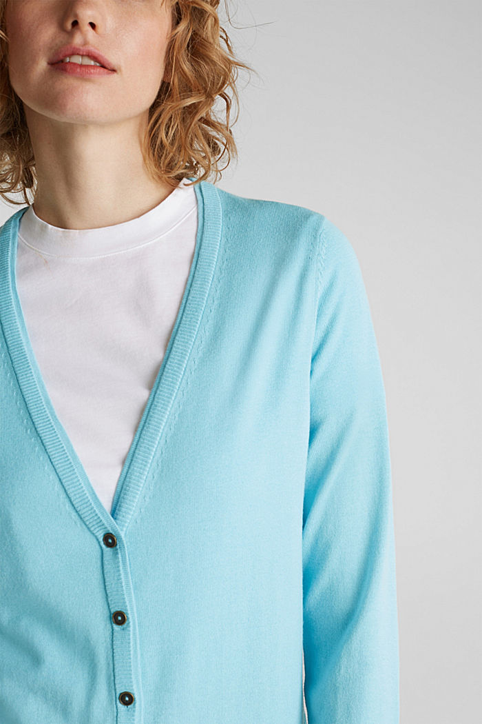 Cotton blend cardigan, TURQUOISE, detail image number 2