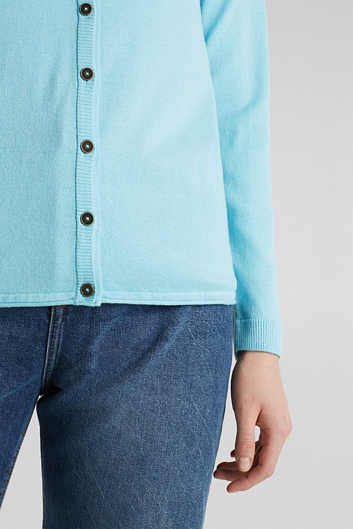 Cotton blend cardigan, TURQUOISE, detail image number 5