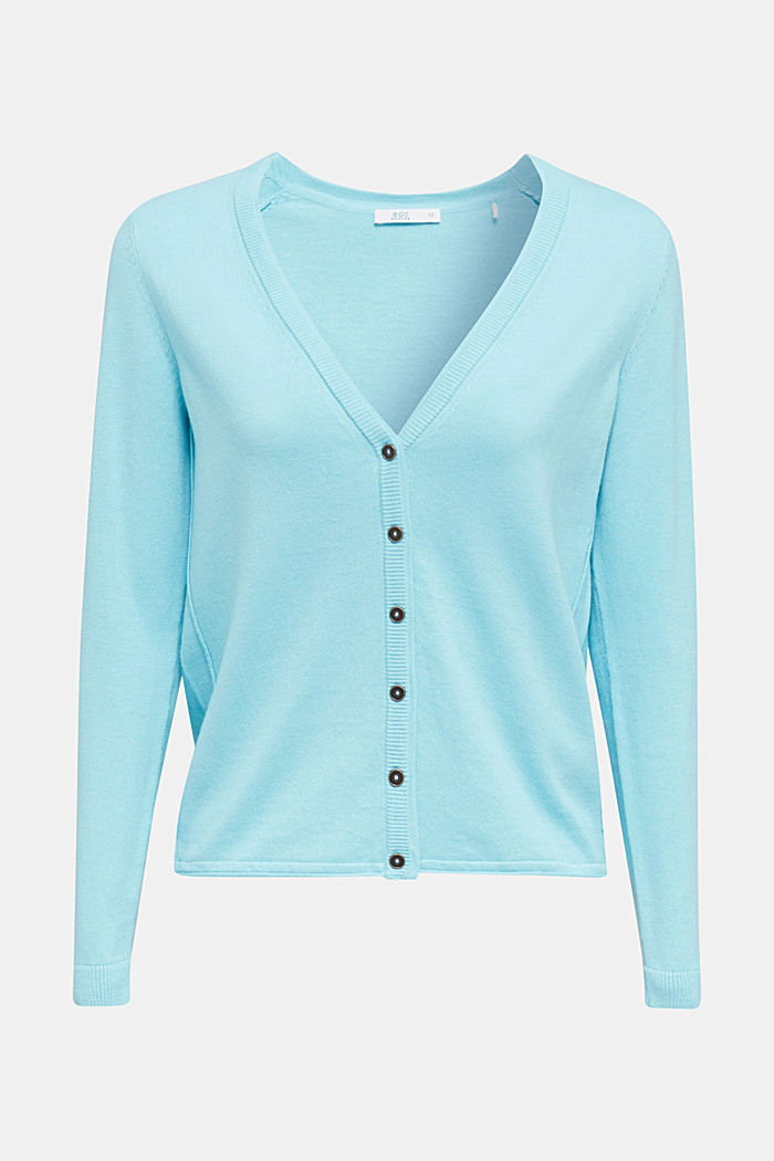 Cotton blend cardigan, TURQUOISE, detail image number 7