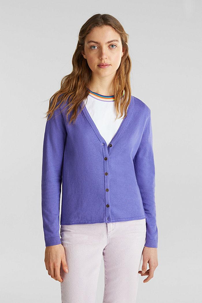 Cotton blend cardigan, DARK LAVENDER, detail image number 0