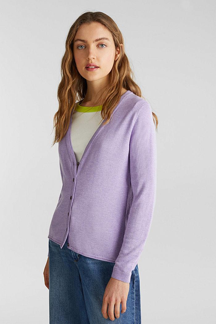 Cotton blend cardigan, LILAC, detail image number 0
