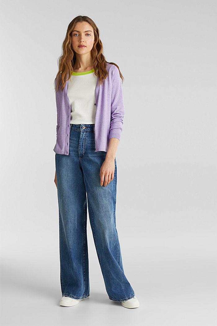 Cotton blend cardigan, LILAC, detail image number 1