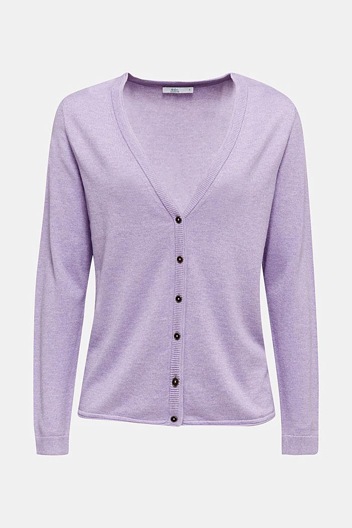 Cotton blend cardigan, LILAC, detail image number 5