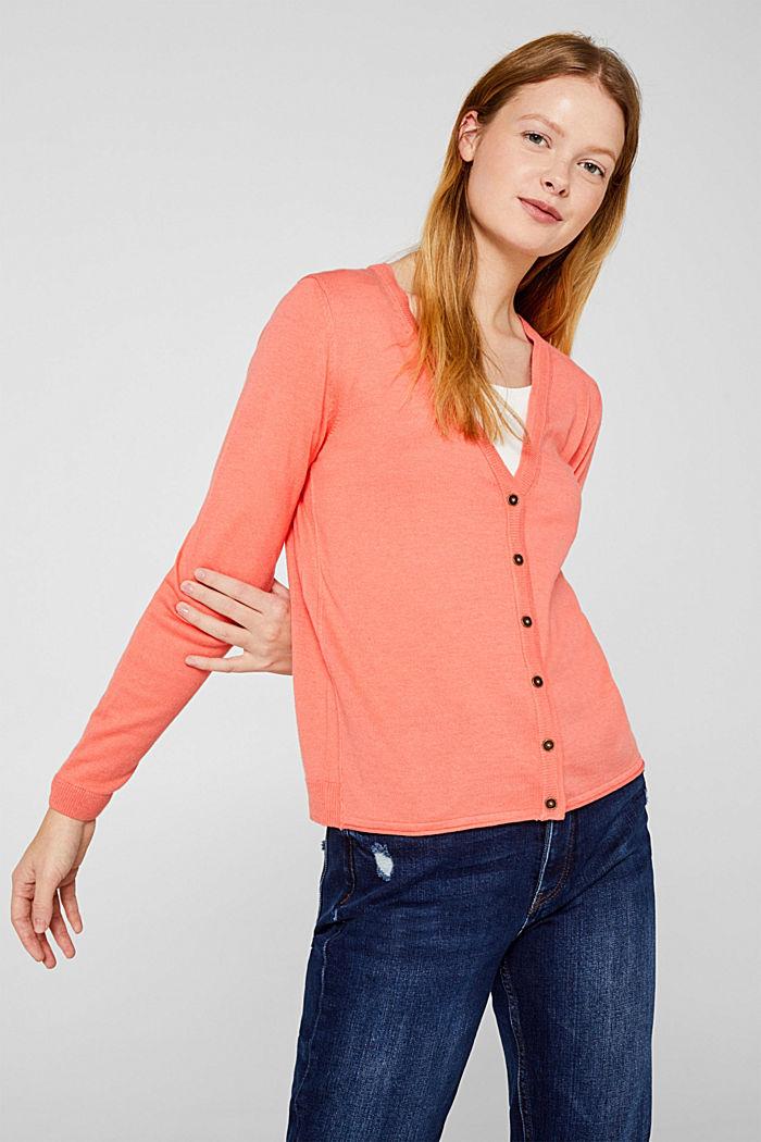 Cotton blend cardigan, CORAL, detail image number 0