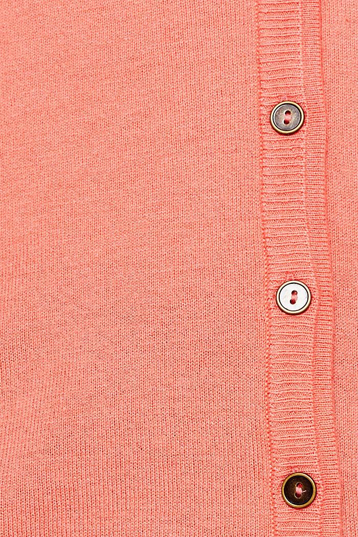 Cotton blend cardigan, CORAL, detail image number 4