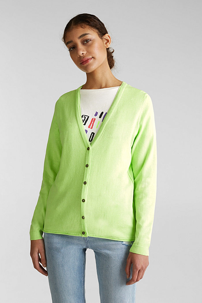 Cotton blend cardigan, LIME YELLOW, detail image number 0