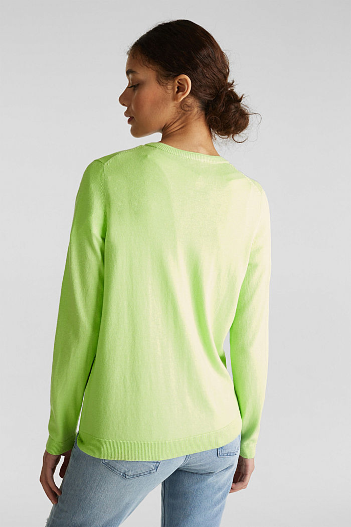 Cotton blend cardigan, LIME YELLOW, detail image number 2
