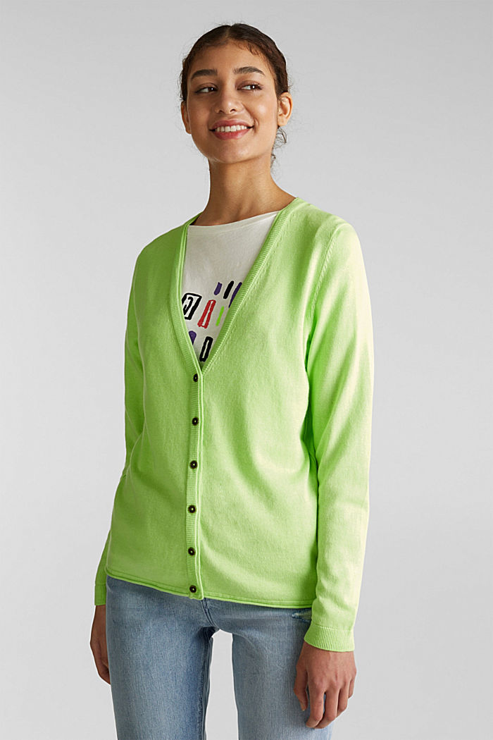 Cotton blend cardigan, LIME YELLOW, detail image number 5
