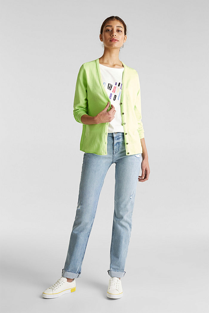 Cotton blend cardigan, LIME YELLOW, detail image number 1