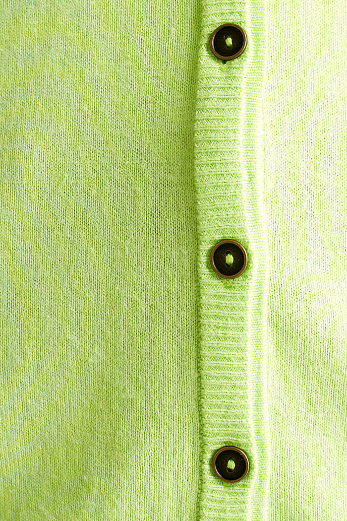 Cotton blend cardigan, LIME YELLOW, detail image number 3